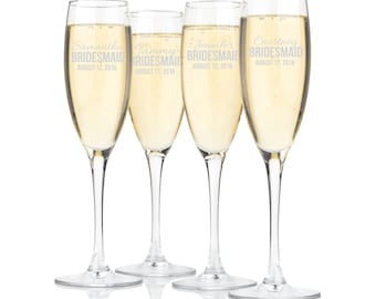 Personalized Champagne Glasses Bridesmaid Groomsman Toasting Flutes Sold Individually