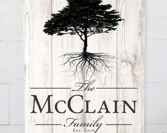 Personalized Rustic Family Tree Name Sign 16x20