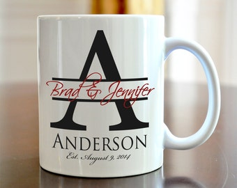 Personalized Coffee Mug Bride and Groom Wedding Large Initial Coffee Mug