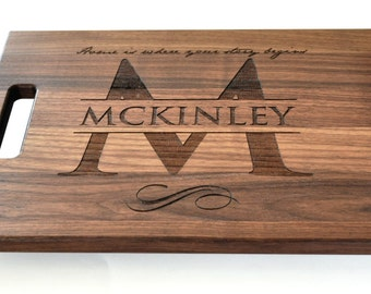 Personalized Cutting Board Laser Engraved Walnut 11x15 Wood Cutting Board CW1115