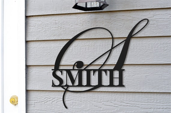personalized metal family name monogram sign for outdoor use etsy