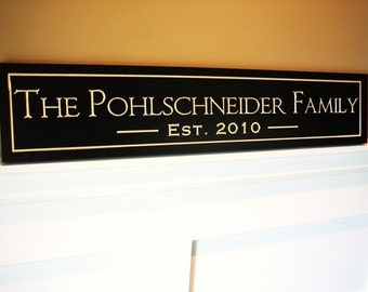 Personalized Family Name Sign Established Plaque Carved and Painted.  PF5x24