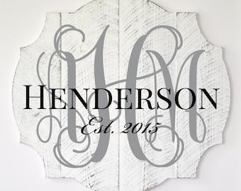 Personalized Family Name Sign Pallet Wood Vine Monogram Word Art Cutout 3D Wood Monogram