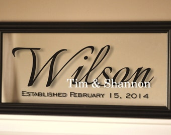 Personalized Family Name Sign Picture Frame Established Family Sign 11x21