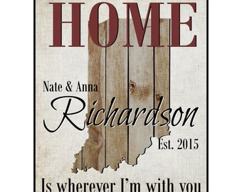 Personalized Family Name Sign Home Is Wherever I'm With You Rustic Wood Sign 15x12