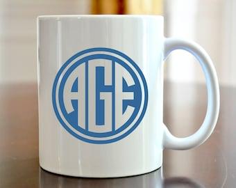 Personalized Coffee Mug Circle Monogram Coffee Mug