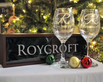 Personalized Engraved Wine Glasses and Engraved Wine Bottle Box Perfect for Christmas Gifts