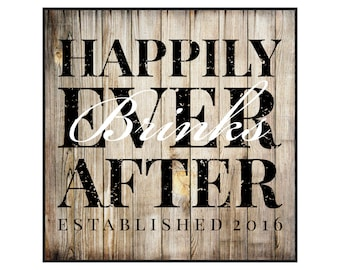 Personalized Family Name Sign Happily Ever After Rustic Wood Sign