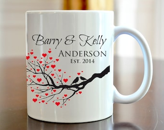 Personalized Coffee Mug Bride and Groom Wedding Love Bird Coffee Mug