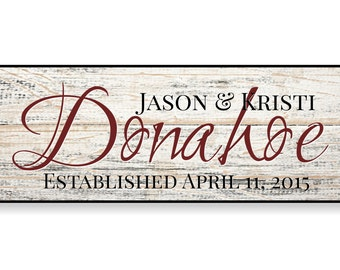 Personalized Last Name Family Name Sign Established Plaque Painted Sign 7x20