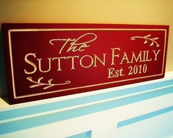 7x20 Carved Painted Personalized Family Name Sign Plaque