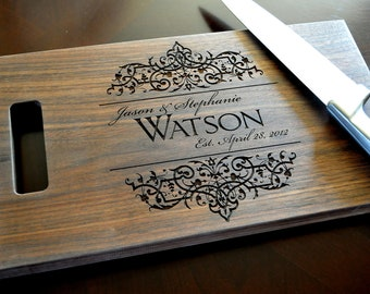 Personalized Cutting Board Laser Engraved 8x14 Wood Cutting Board CB814