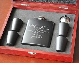 Personalized Black Matte Flask Set with Shot Glasses With Wood Case