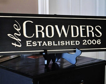Personalized Family Name Sign Plaque Custom Made Just for you. 6x20 Carved Engraved Makes a great wedding or anniversary gift