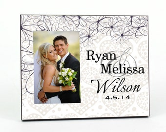 Personalized Picture Frame for 4x6 Photo Newlywed Photo Frame Wedding or Anniversary Gift UPOFL-01