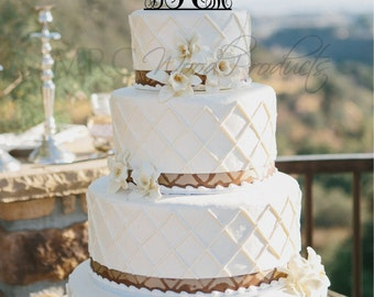 Wedding Cake Topper Personalized Monogram Cake Topper