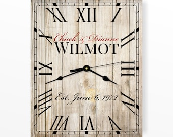 "Personalized Rustic Clock 12""x15"" or 16""x20"" by MRC Wood Products"