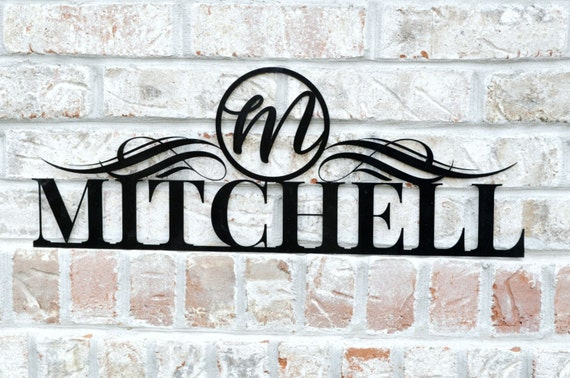 personalized metal cutout family name sign for outdoor use etsy