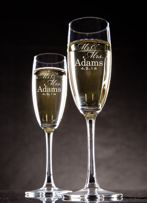 Personalized Champagne Flutes Champagne Glasses Bride And