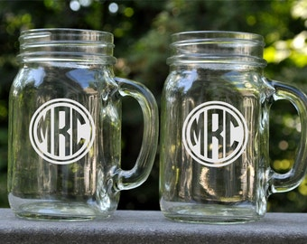 Personalized Mason Jar Mug with Circle Monogram Glass Mug