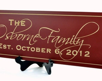 Established Sign Family Name Sign Plaque Last Name Sign 8x24 Carved Engraved Wall Sign Established Sign