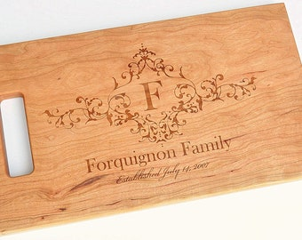 Cutting Board Personalized Cutting Board Laser Engraved Cherry 8x14 Wood Cutting Board CB814FOQ