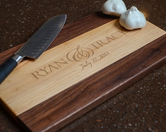 Cutting Board Personalized Cutting Board Laser Engraved Maple and Walnut 11x15 Wood Chopping Block CB1115 2 Tone