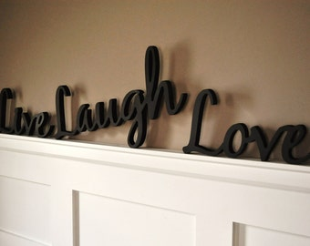 Word Art Wood 3D Cutout 'Live, Laugh, Love' set by MRC Wood Products
