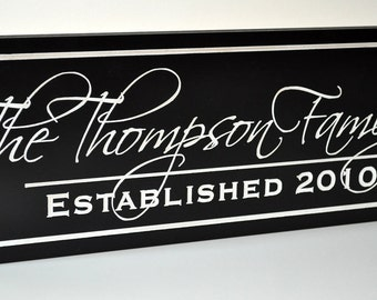 Family Name Sign Established Sign Carved Painted Personalized Plaque 7x20