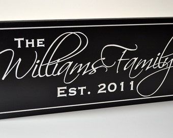 Personalized Family Name Sign Plaque Last Name Sign 6x16 Carved Engraved Wall Sign Established Sign