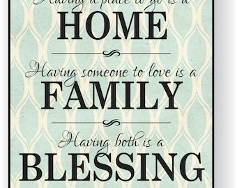 Home Family Blessing Printed Wood Sign 12x15 Having somewhere to go is a home having someone to love is a family