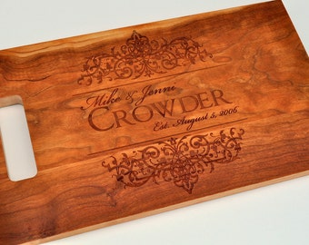 Cutting Board Personalized Cutting Board Laser Engraved Cherry 8x14 Wood Cutting Board CB814