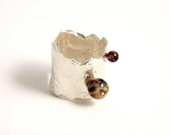 """Bague en argent réticulé avec perles de jaspe rouge """"Double Jaspe"""""""