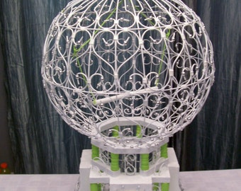 Bird Cage, Fairy House, Hand Painted And Hand Beaded Bird Cage