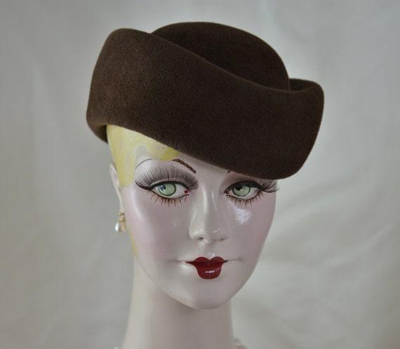 Brown Felt Hat Ladies Toque Hat Fall Hat e76994f4a0c