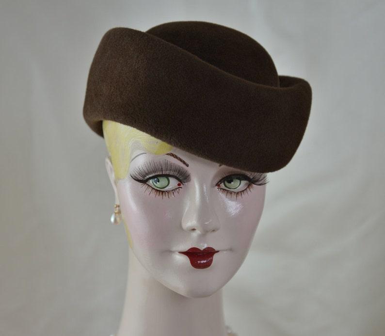 74dbd6adf3d Brown Felt Hat Ladies Toque Hat Fall Hat