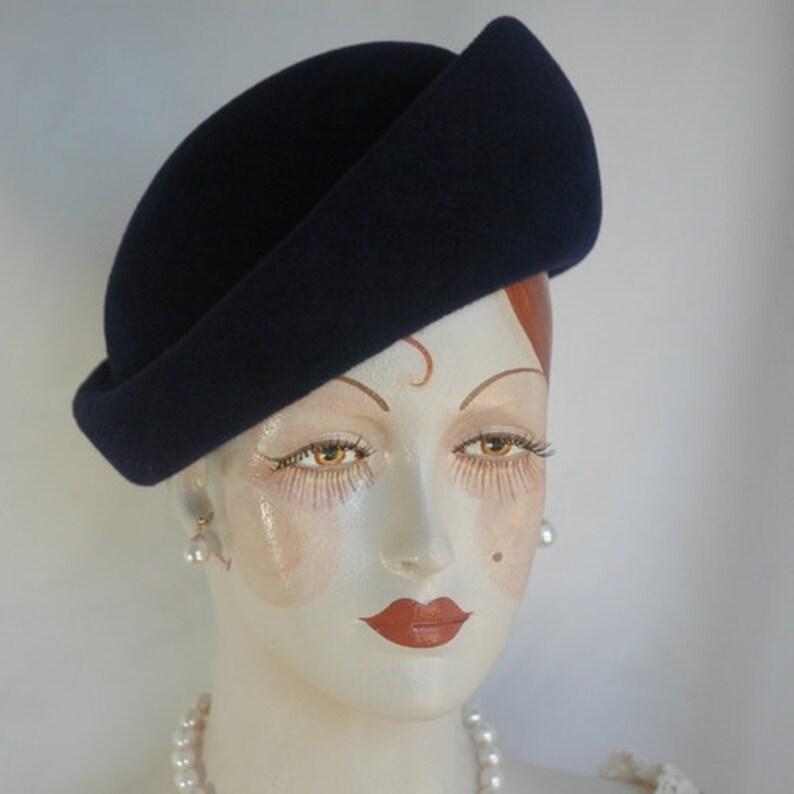 6539ea32527 Navy Blue Felt Hat Ladies Toque Hat Fall Hat