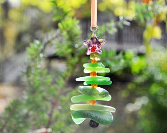 Sea Glass Christmas Tree Ornament, Delightful Stocking Stuffer, Unique Gift, Holiday Package Decor, Genuine Odd Green Mix and Purple Star