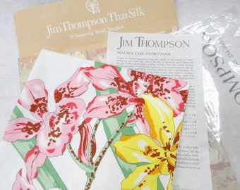 Jim Thompson Yellow Green Silk Flower Bangkok Thailand Scarf.