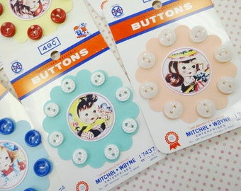 Vintage Inspired Sweet Novelty Petite kiddie Baby Doll Sewing Button Cards Carded Lot (6) Each