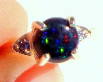 Black Welo Opal,Multi-Color Fancy Sapphire Halo,Sterling Silver Green Color Play Blue Red Filigree Ring Size 7 Natural Gemstones