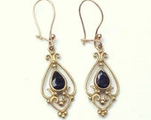 Solid 9k Gold, Vintage Sapphire Earrings, Gold Dangle Earring from UK, Hook Wires, Beautiful Design