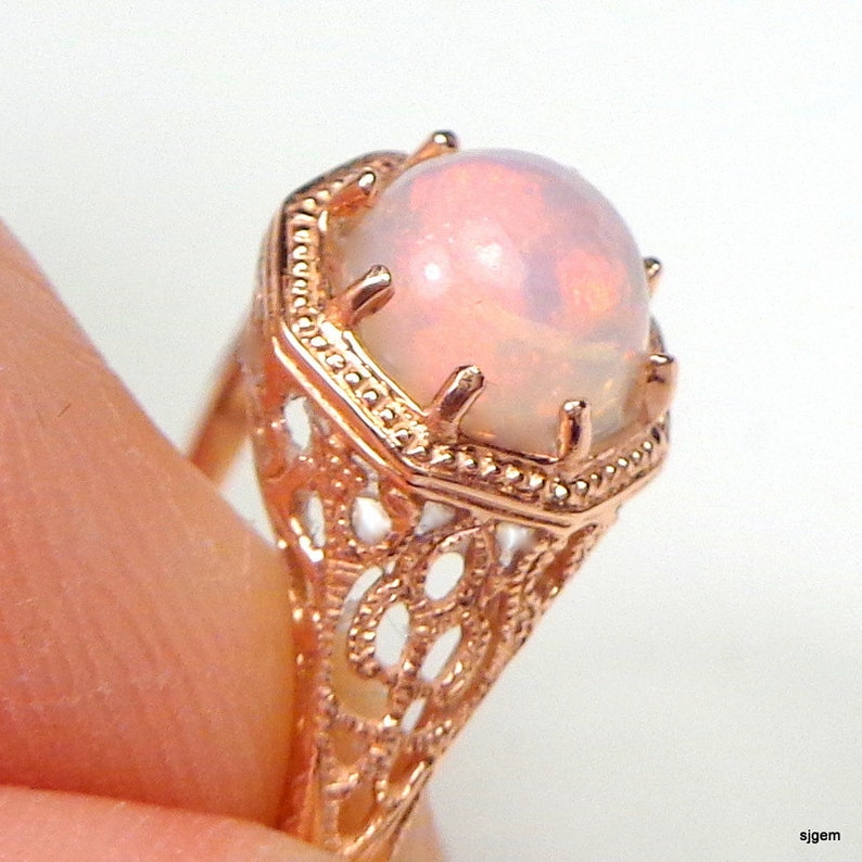 e95a0f9a92e4c SALE, Sz 6.75, Solid 10k Rose Gold Welo Opal Ring, Natural Opal, Ethiopian  Opal Ring, Pink, Yellow, Green, Lavender Color Play Opal Ring