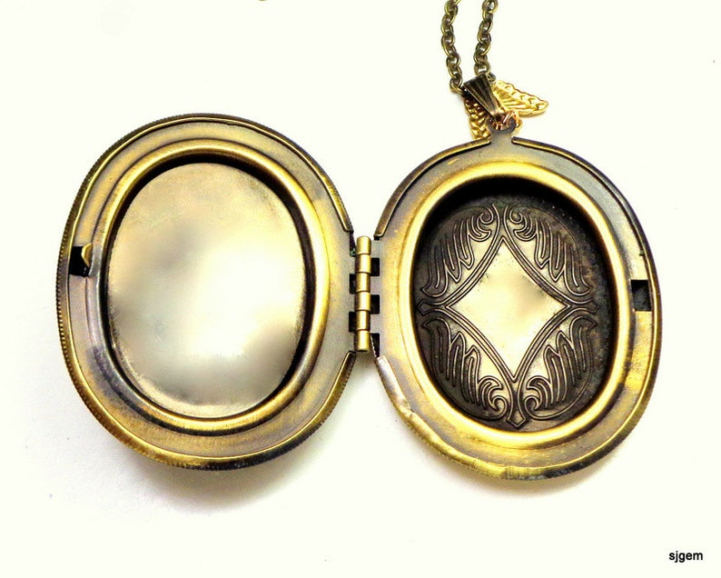 Lilies of the Valley Large Ivory on Onyx Black Background Cameo Locket Necklace