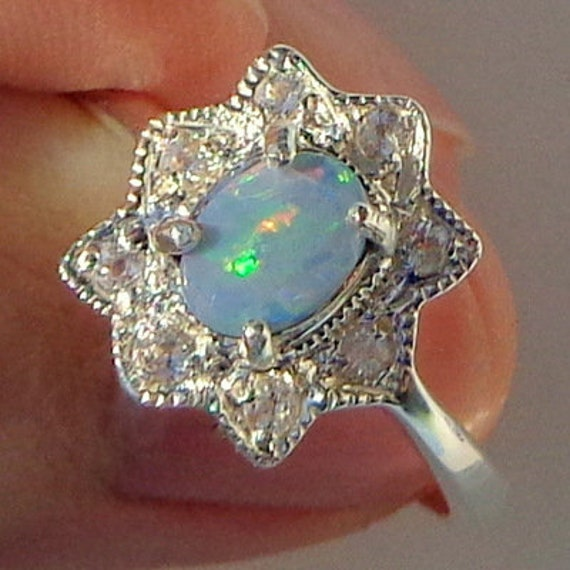 Blue Sterling Silver Ring Green Blue Sapphire Halo Welo Opal Yellow Ethiopian Opal Ring Lavender Size 8 34