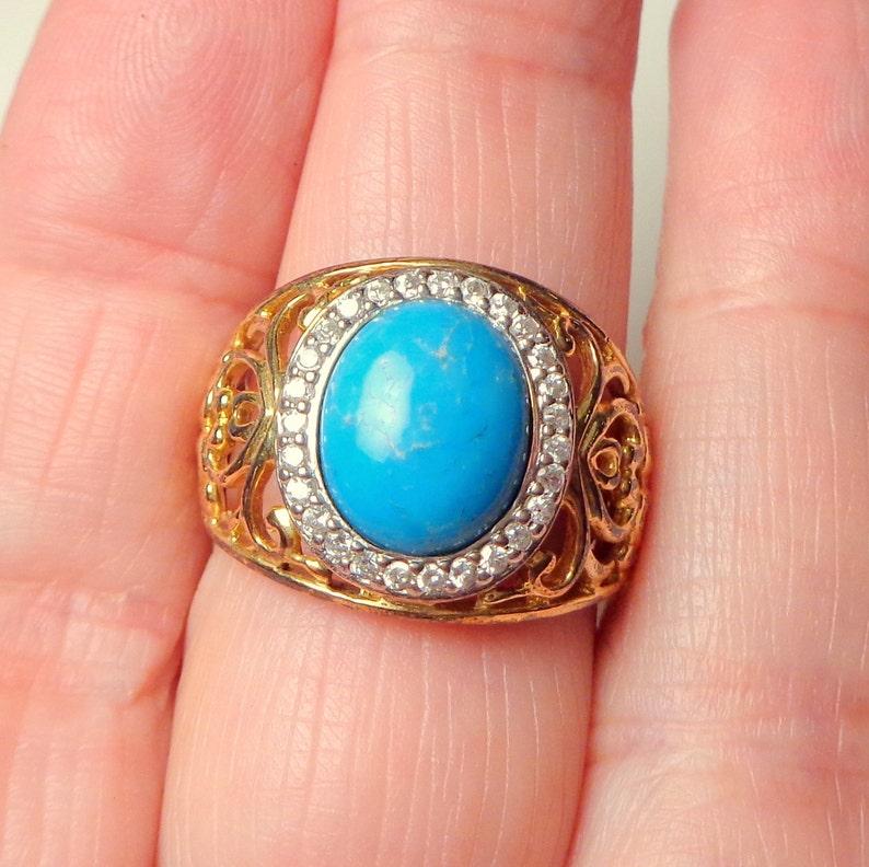 Sz 9.25 Genuine Turquoise Ring Filigree Setting Estate Jewelry Yellow Gold Plated Diamond Cut CZ Halo Ornate Style