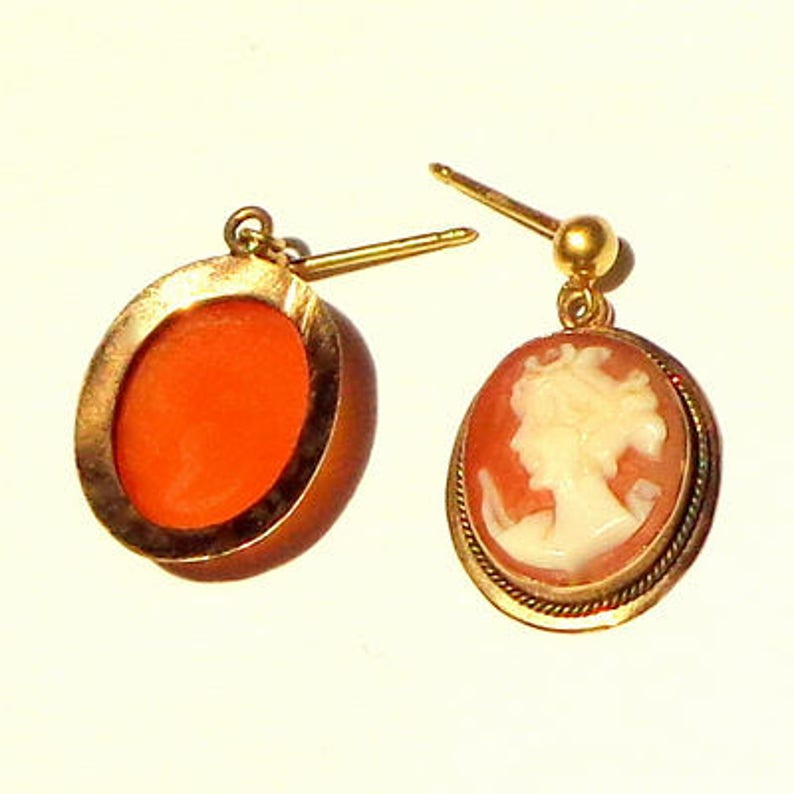 Victorian Cameo Earrings,Antique Cameos,Hand Carved Conch Shell,Antique Cameos,Cameo Jewellry,Victorian Earrings,OOAK