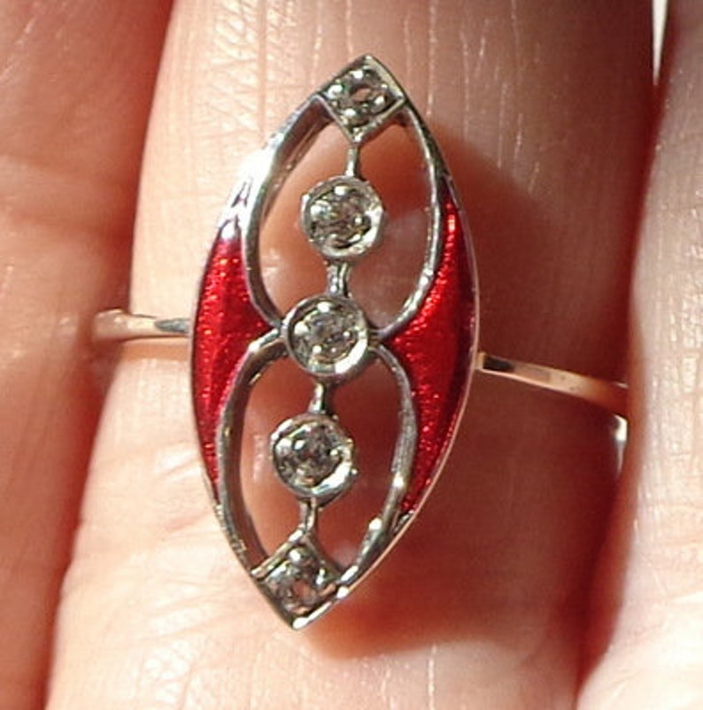 White Topaz /& Red Enamel Sterling Silver Size 7 14 Estate Ring Art Deco Ring Style Marquise Open Work Ring