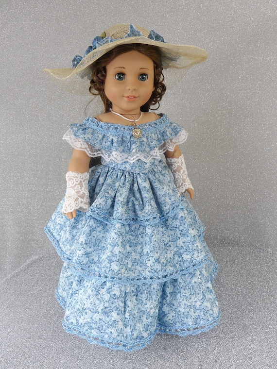 f945fc72c OOAK Southern Belle Civil War Colonial Walking Gown Blue