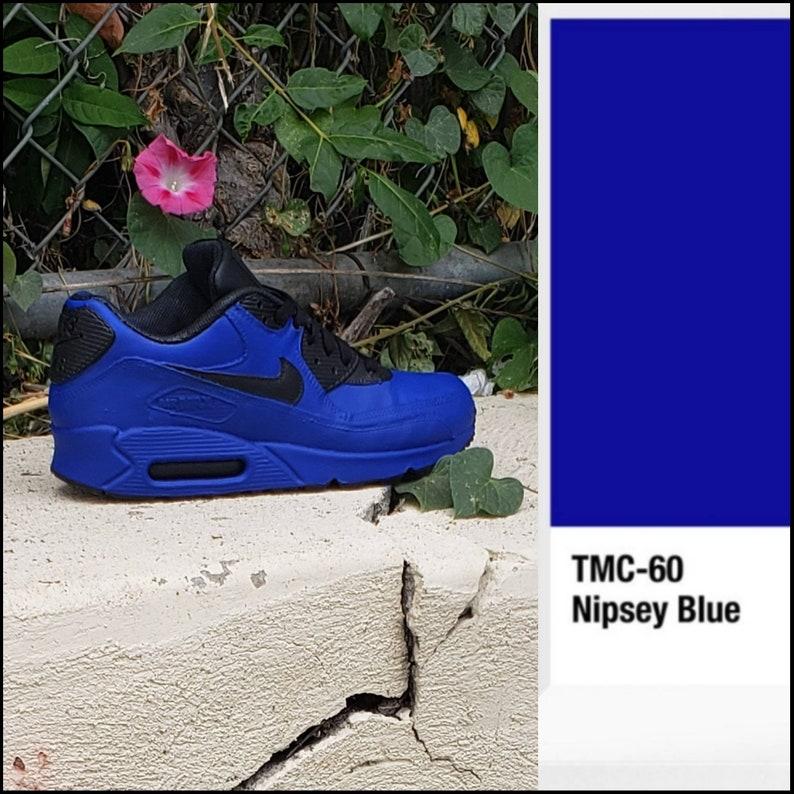 newest 52d22 da030 Nipsey Hussle Blue Air Max 90 or Air Force 1 Drip Sneakers